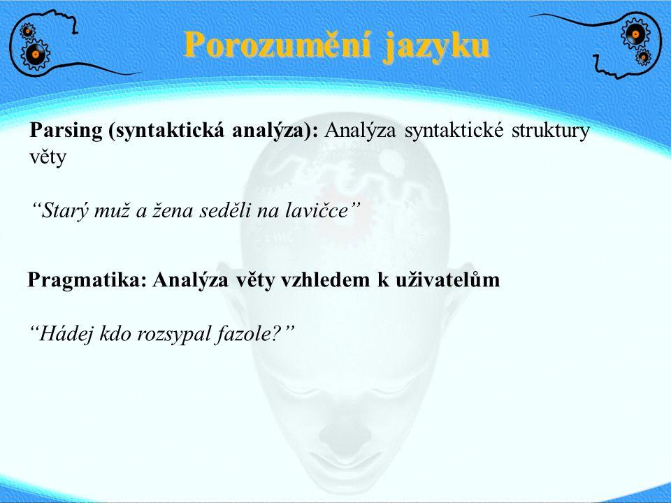 Porozumění jazyku Parsing (syntaktická analýza): Analýza syntaktické struktury věty. Starý muž a žena seděli na lavičce