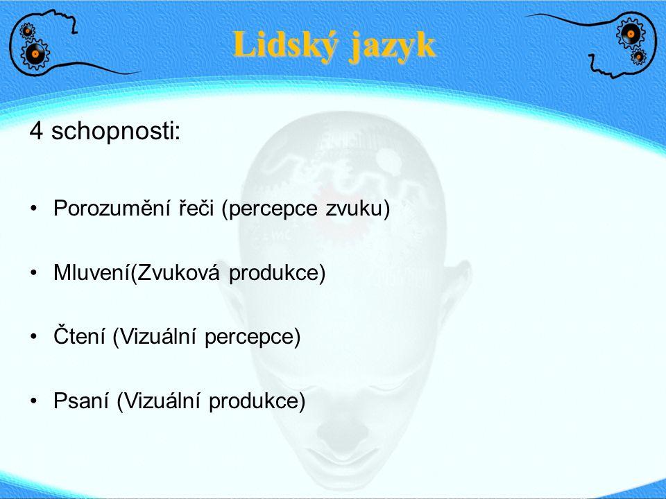 Lidský jazyk 4 schopnosti: Porozumění řeči (percepce zvuku)
