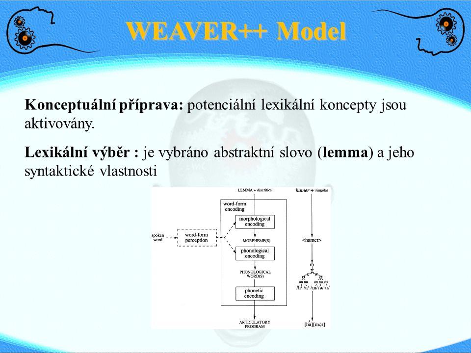 WEAVER++ Model Konceptuální příprava: potenciální lexikální koncepty jsou aktivovány.