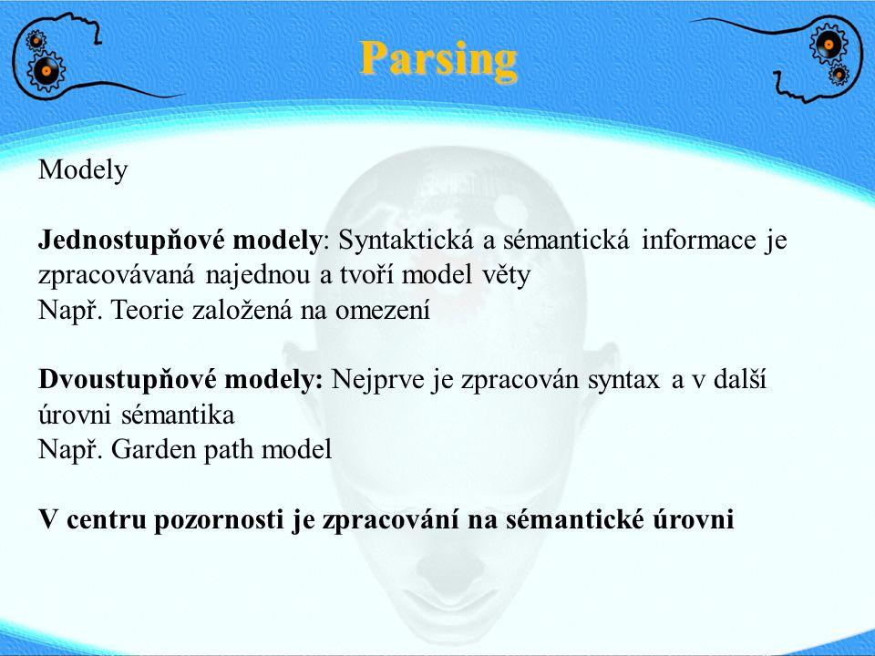Parsing Modely. Jednostupňové modely: Syntaktická a sémantická informace je zpracovávaná najednou a tvoří model věty.