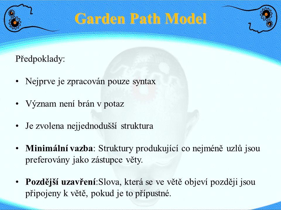 Garden Path Model Předpoklady: Nejprve je zpracován pouze syntax