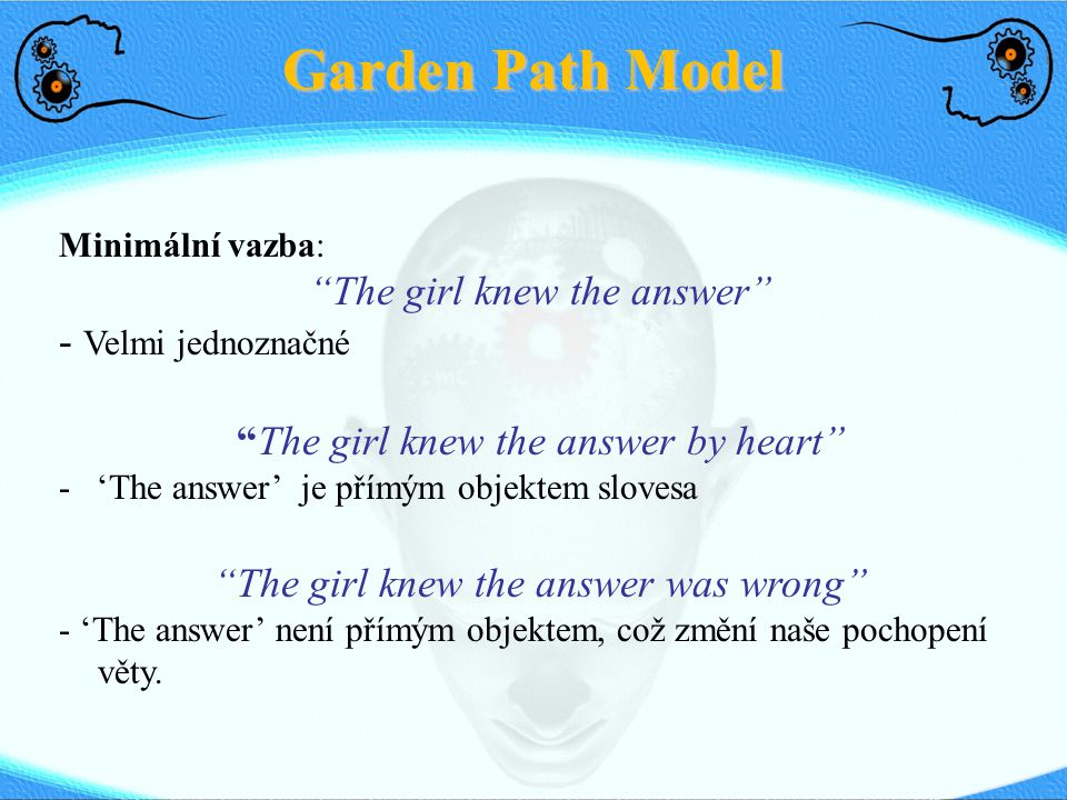 Garden Path Model The girl knew the answer - Velmi jednoznačné