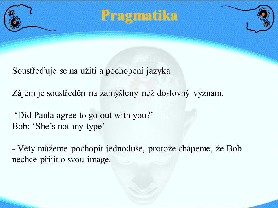 Pragmatika Soustřeďuje se na užití a pochopení jazyka