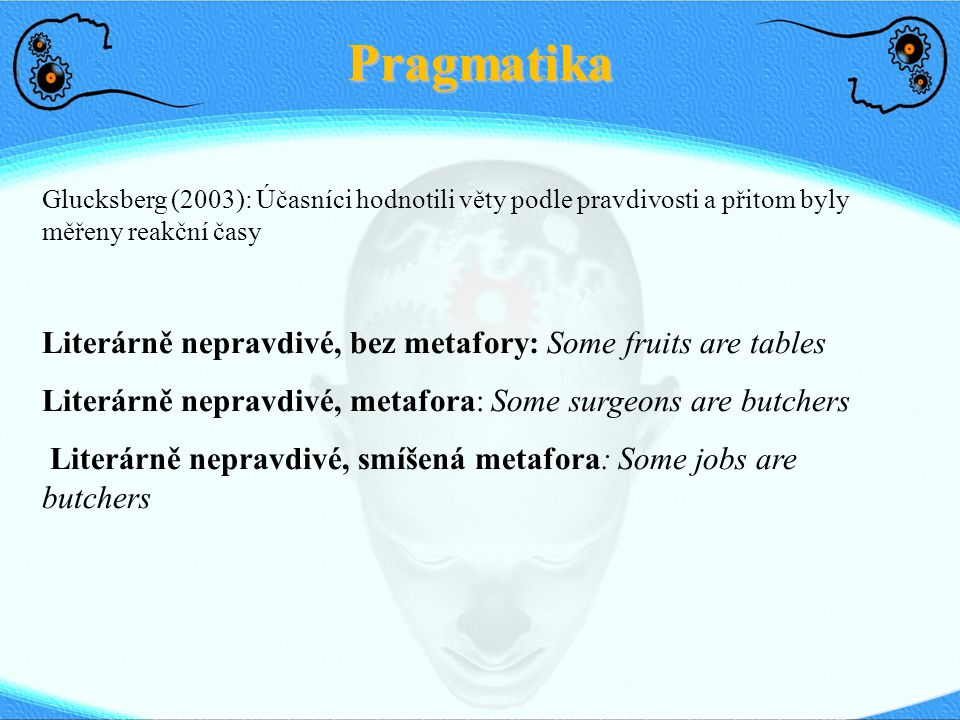 Pragmatika Literárně nepravdivé, bez metafory: Some fruits are tables