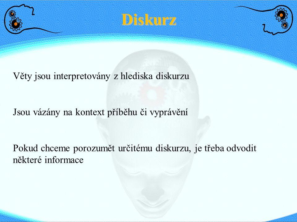 Diskurz Věty jsou interpretovány z hlediska diskurzu