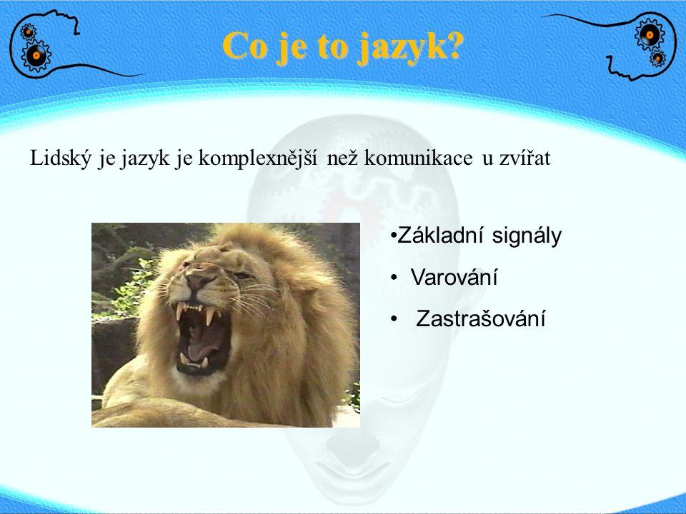 Co je to jazyk Lidský je jazyk je komplexnější než komunikace u zvířat. Základní signály. Varování.