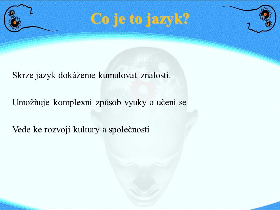 Co je to jazyk Skrze jazyk dokážeme kumulovat znalosti.