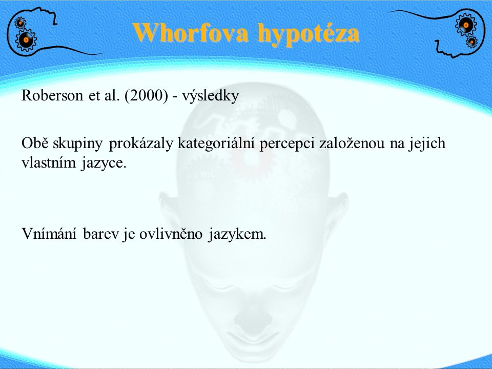 Whorfova hypotéza Roberson et al. (2000) - výsledky