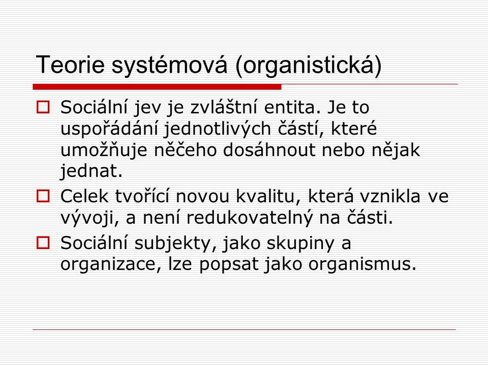 Teorie systémová (organistická)