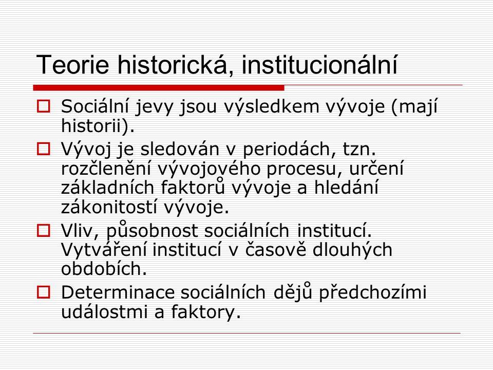 Teorie historická, institucionální