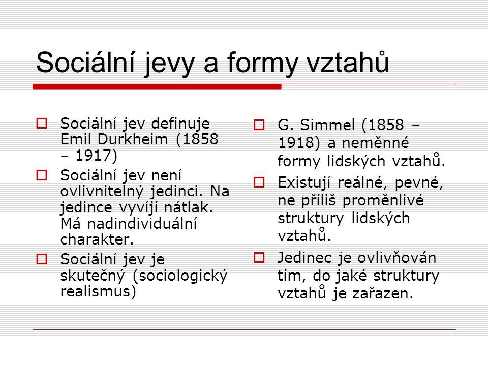 Sociální jevy a formy vztahů