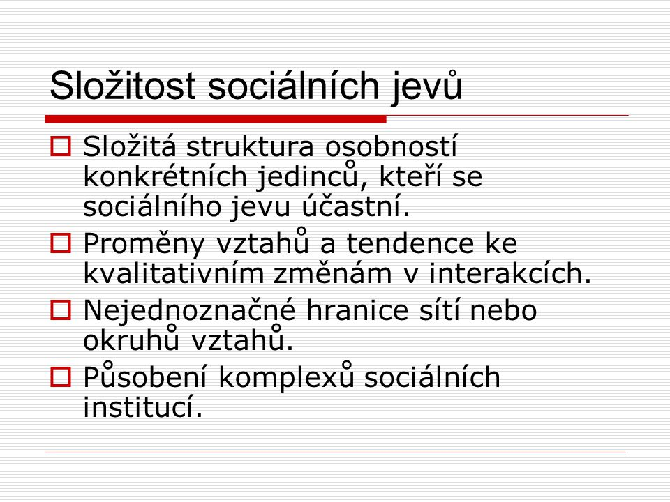 Složitost sociálních jevů