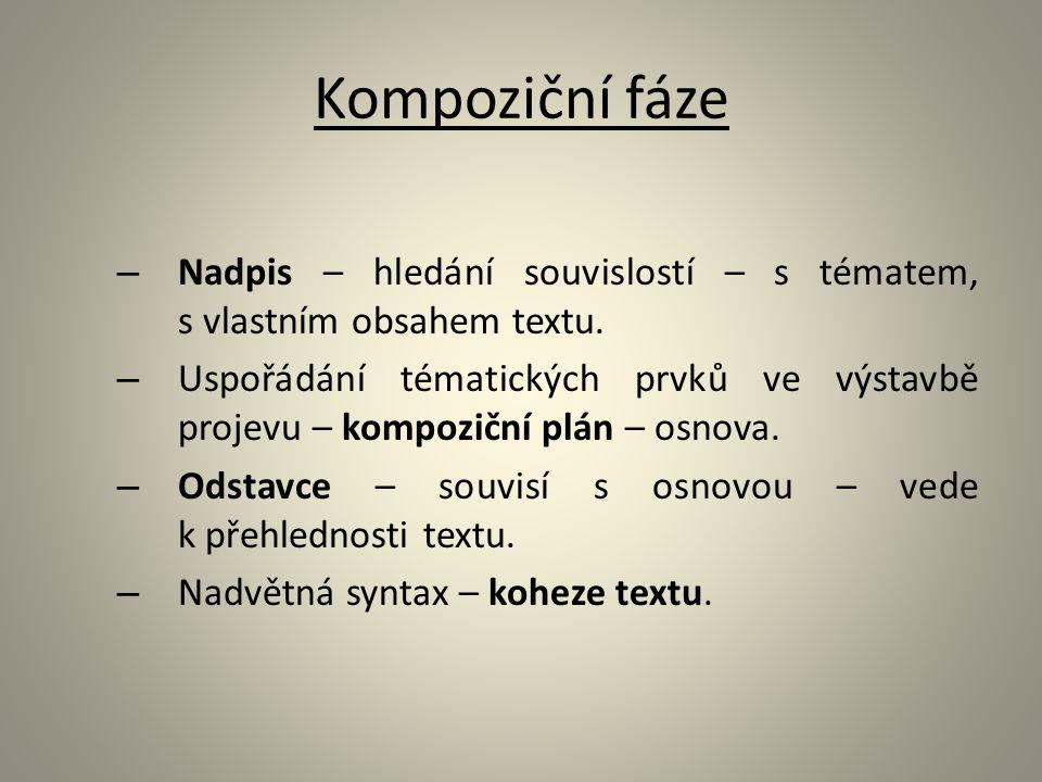 Kompoziční fáze Nadpis – hledání souvislostí – s tématem, s vlastním obsahem textu.