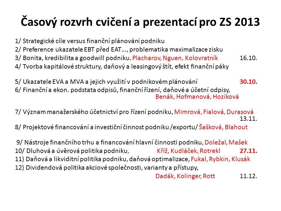 Časový rozvrh cvičení a prezentací pro ZS 2013