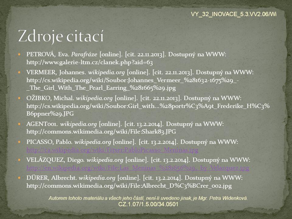 VY_32_INOVACE_5.3.VV2.06/Wi Zdroje citací.