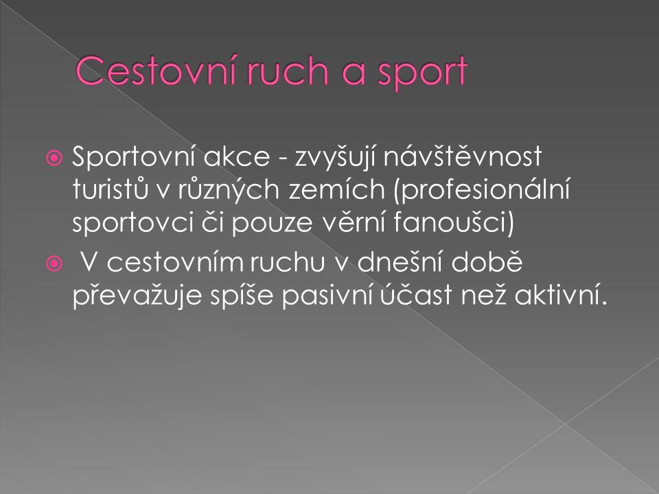 Cestovní ruch a sport Sportovní akce - zvyšují návštěvnost turistů v různých zemích (profesionální sportovci či pouze věrní fanoušci)