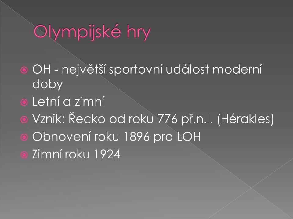 Olympijské hry OH - největší sportovní událost moderní doby