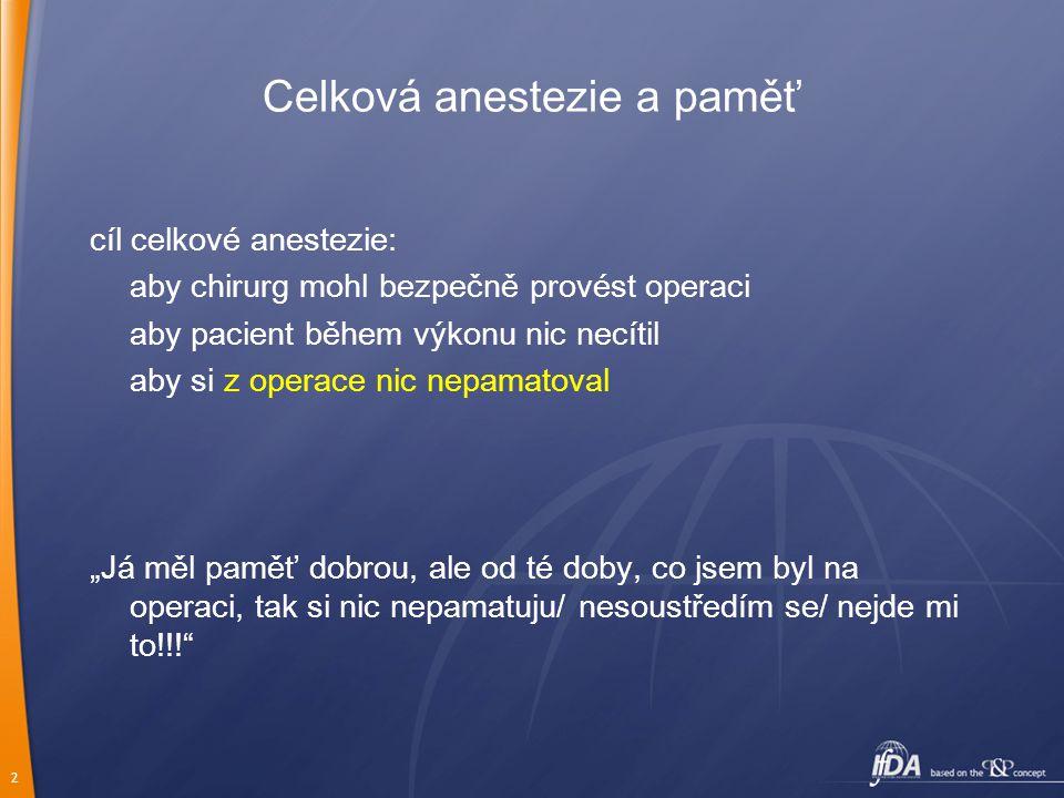 Celková anestezie a paměť