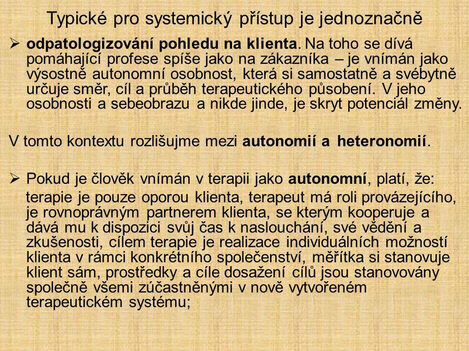 Typické pro systemický přístup je jednoznačně