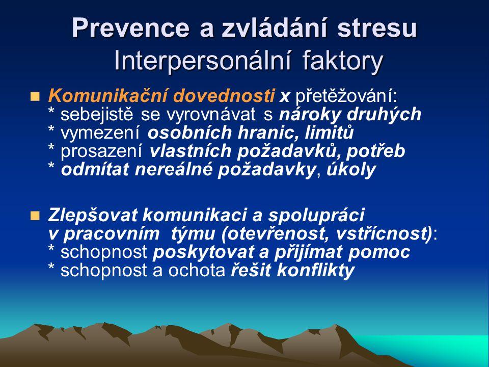 Prevence a zvládání stresu Interpersonální faktory