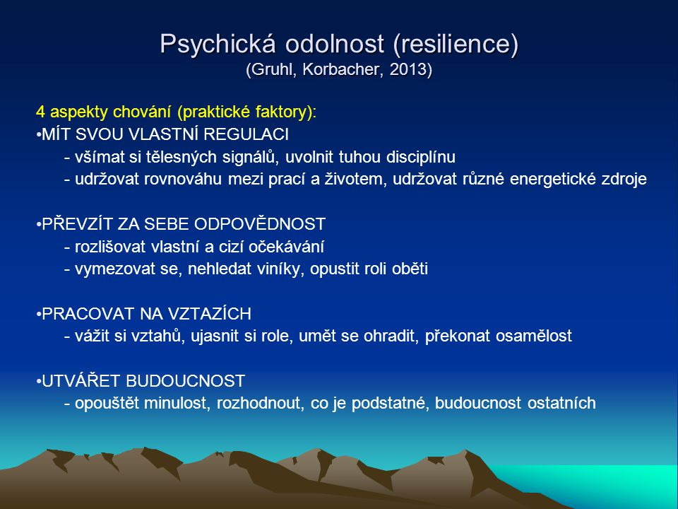 Psychická odolnost (resilience) (Gruhl, Korbacher, 2013)