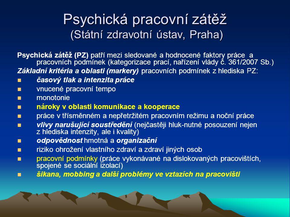 Psychická pracovní zátěž (Státní zdravotní ústav, Praha)