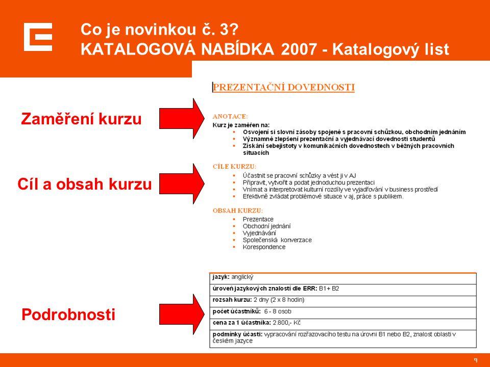 Co je novinkou č. 3 KATALOGOVÁ NABÍDKA 2007 - Katalogový list