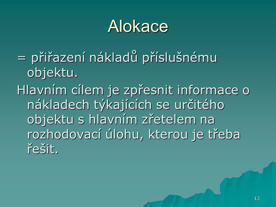 Alokace = přiřazení nákladů příslušnému objektu.