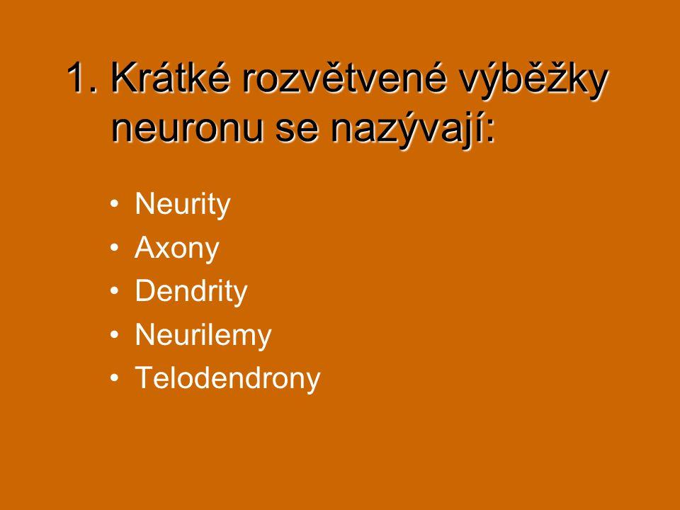 1. Krátké rozvětvené výběžky neuronu se nazývají: