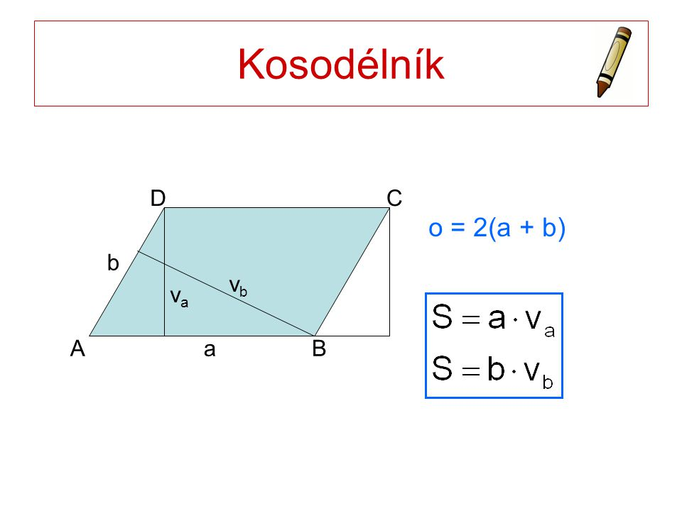 Kosodélník a b A B C D o = 2(a + b) va vb