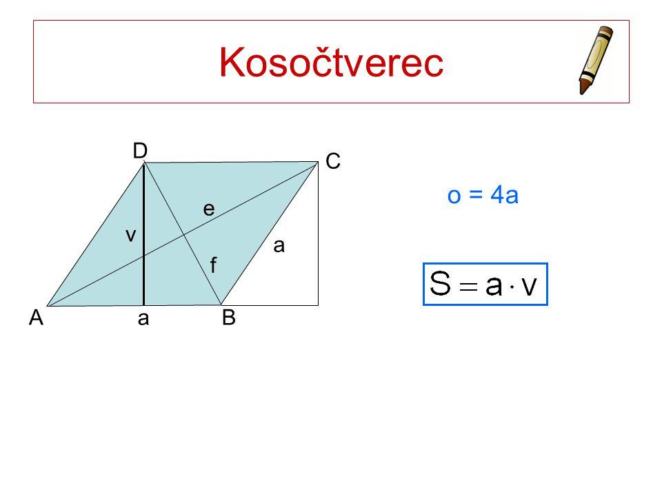 Kosočtverec a A B C D v e f o = 4a