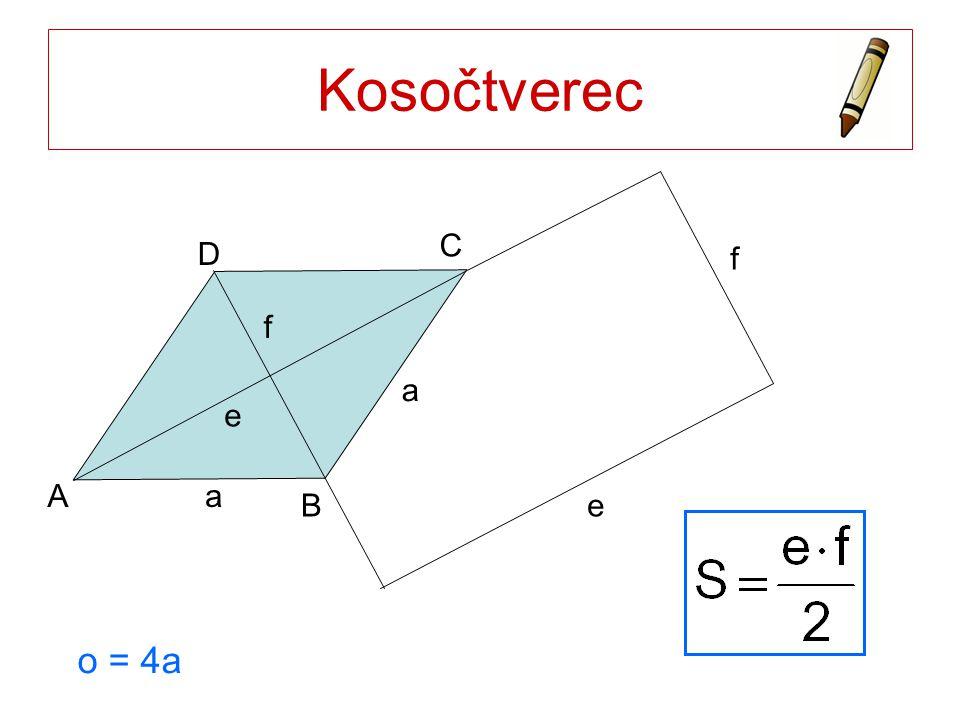 Kosočtverec a A B C D e f e f o = 4a