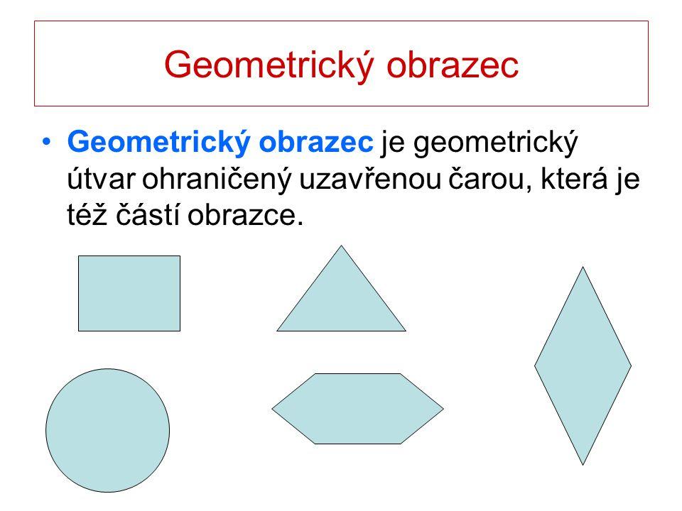 Geometrický obrazec Geometrický obrazec je geometrický útvar ohraničený uzavřenou čarou, která je též částí obrazce.