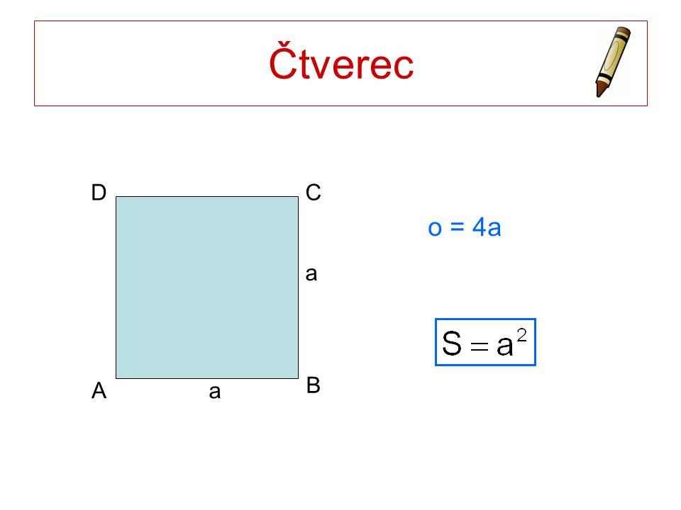 Čtverec a A B C D o = 4a