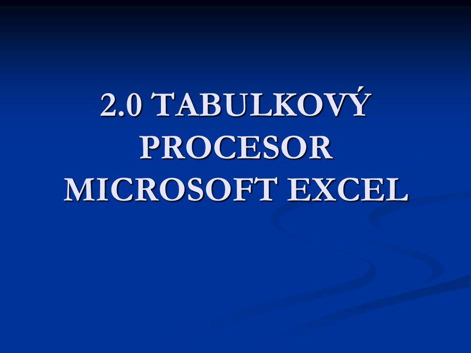 2.0 TABULKOVÝ PROCESOR MICROSOFT EXCEL