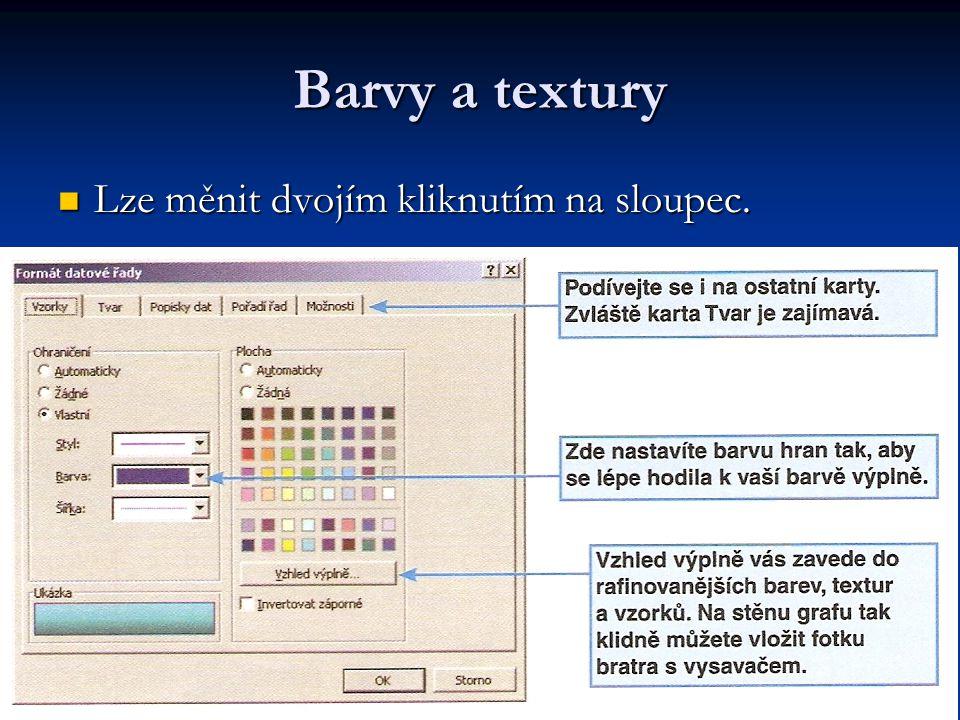Barvy a textury Lze měnit dvojím kliknutím na sloupec.
