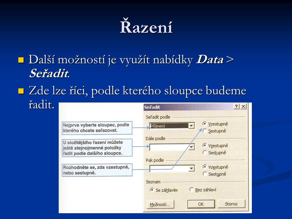 Řazení Další možností je využít nabídky Data > Seřadit.