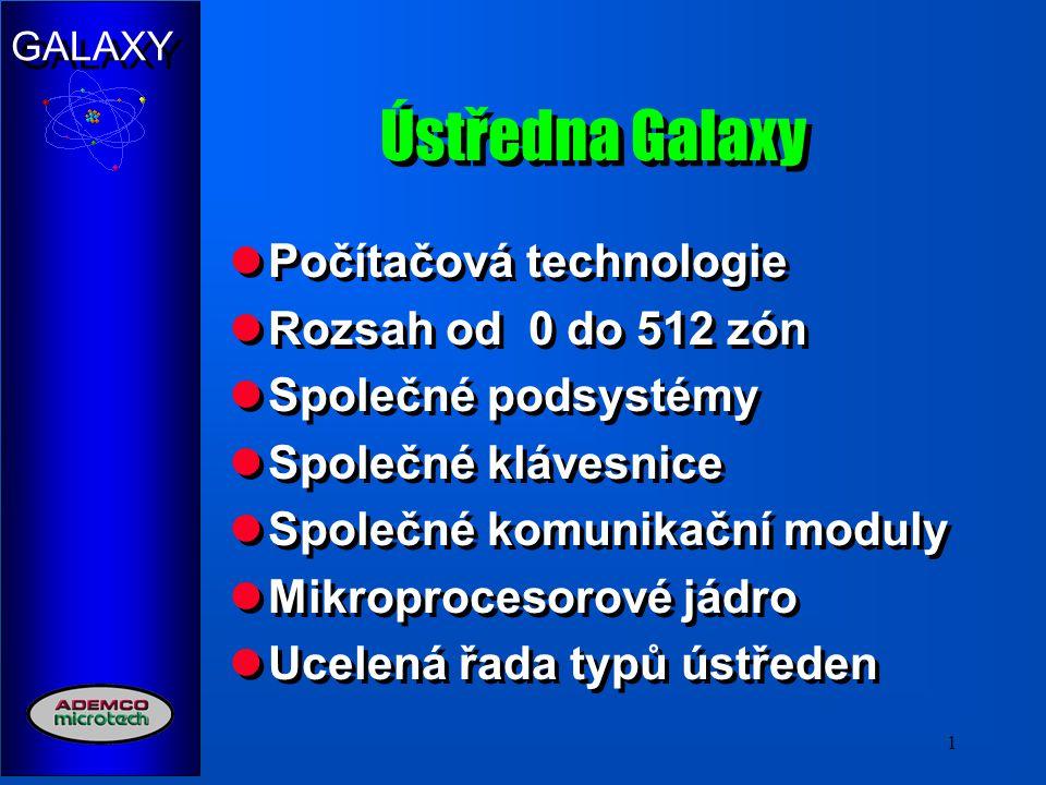 Ústředna Galaxy Počítačová technologie Rozsah od 0 do 512 zón