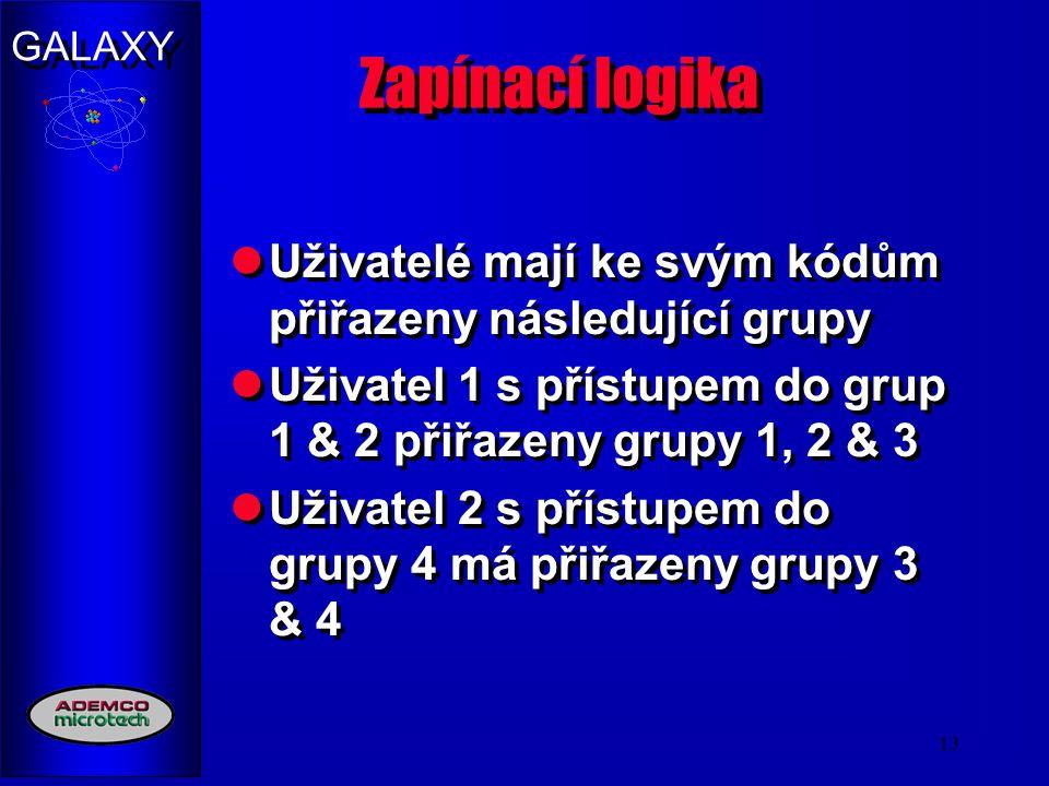 Zapínací logika Uživatelé mají ke svým kódům přiřazeny následující grupy. Uživatel 1 s přístupem do grup 1 & 2 přiřazeny grupy 1, 2 & 3.