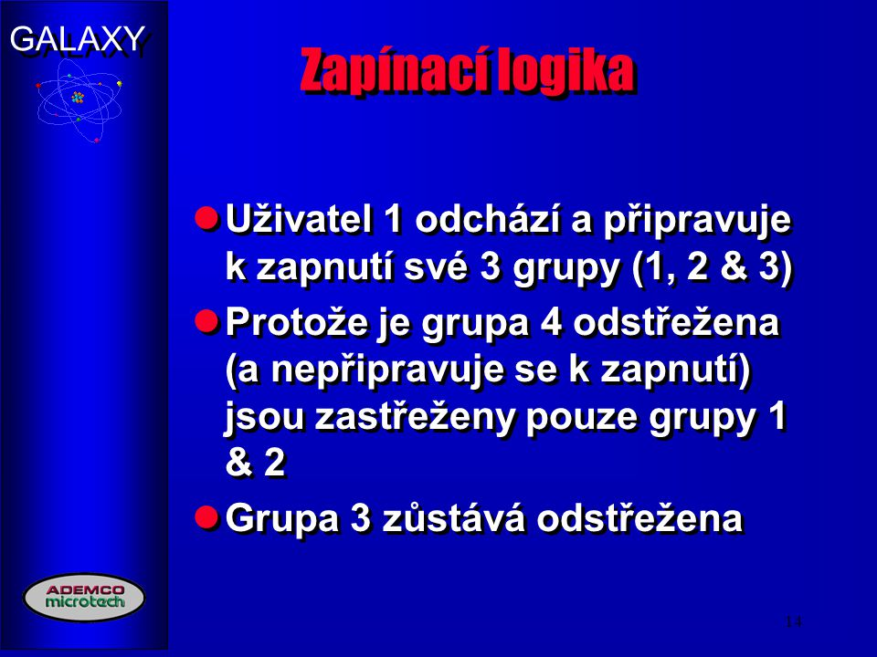 Zapínací logika Uživatel 1 odchází a připravuje k zapnutí své 3 grupy (1, 2 & 3)