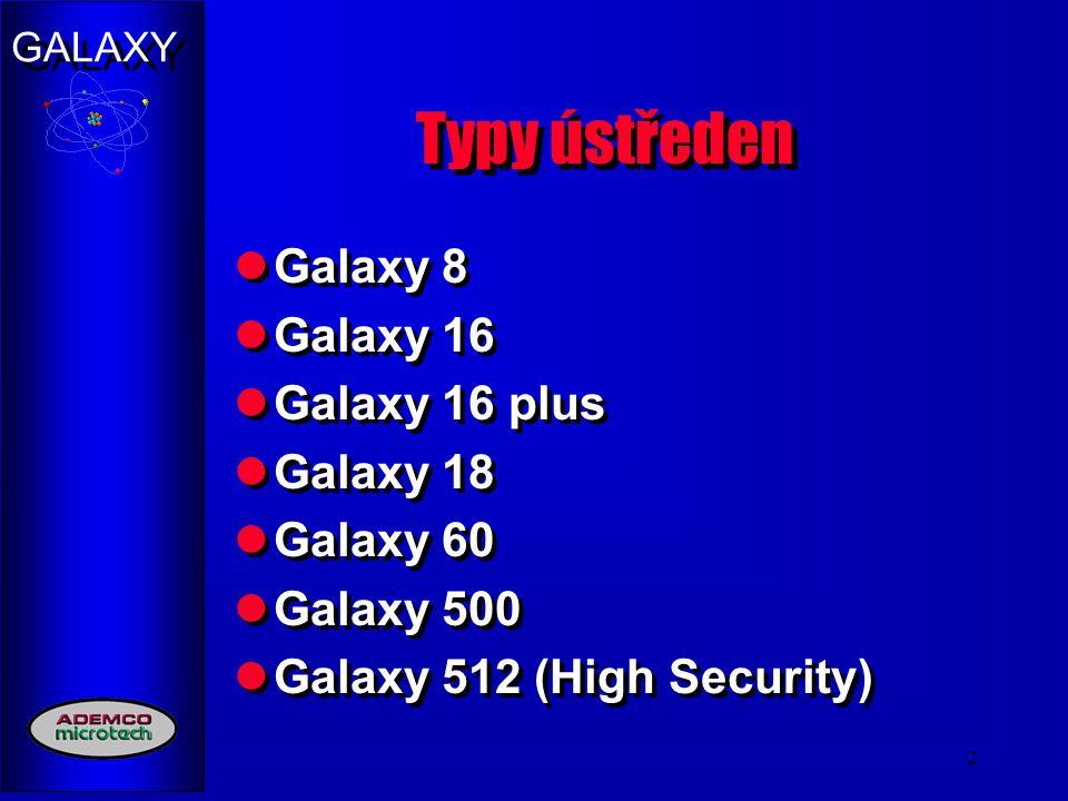 Typy ústředen Galaxy 8 Galaxy 16 Galaxy 16 plus Galaxy 18 Galaxy 60