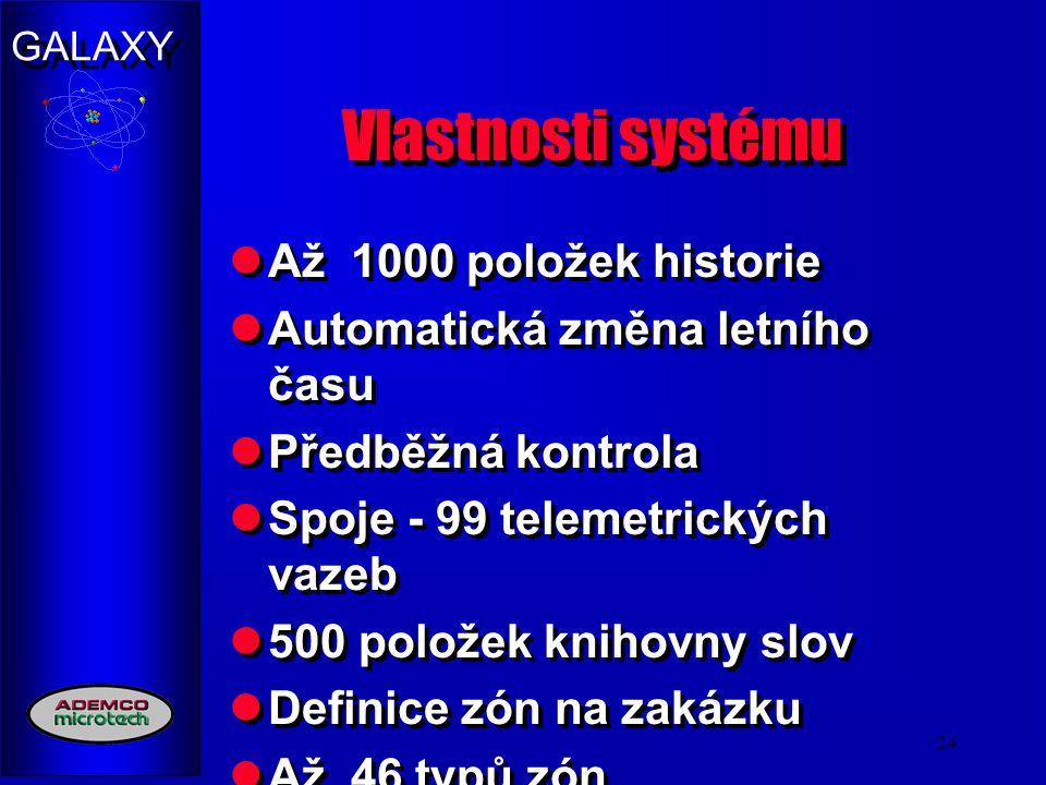 Vlastnosti systému Až 1000 položek historie