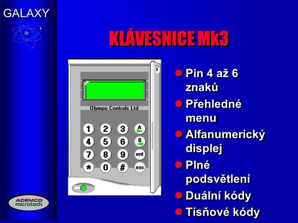 KLÁVESNICE Mk3 Pin 4 až 6 znaků Přehledné menu Alfanumerický displej