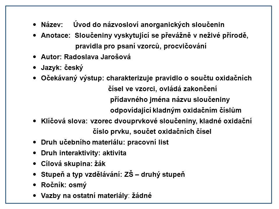 Název: Úvod do názvosloví anorganických sloučenin