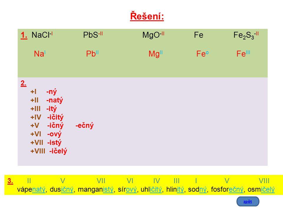 1. NaCl-I PbS-II MgO-II Fe Fe2S3-II NaI PbII MgII Feo FeIII