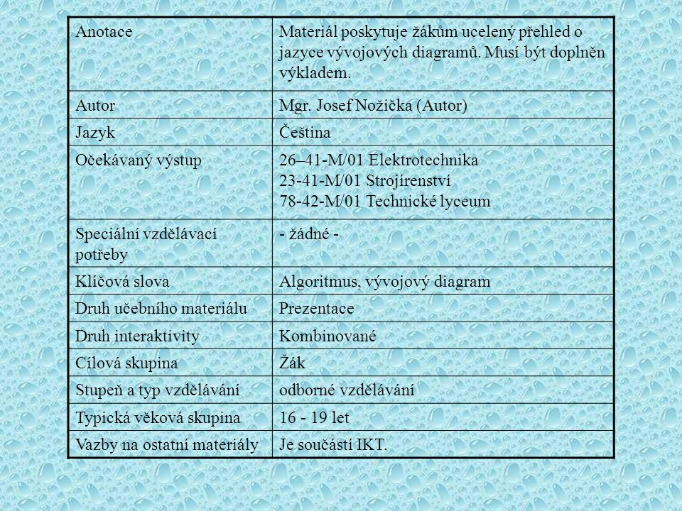 Anotace Materiál poskytuje žákům ucelený přehled o jazyce vývojových diagramů. Musí být doplněn výkladem.