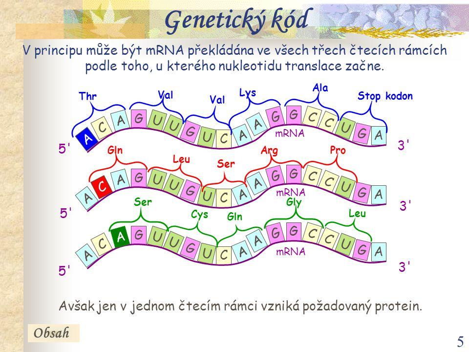 Avšak jen v jednom čtecím rámci vzniká požadovaný protein.