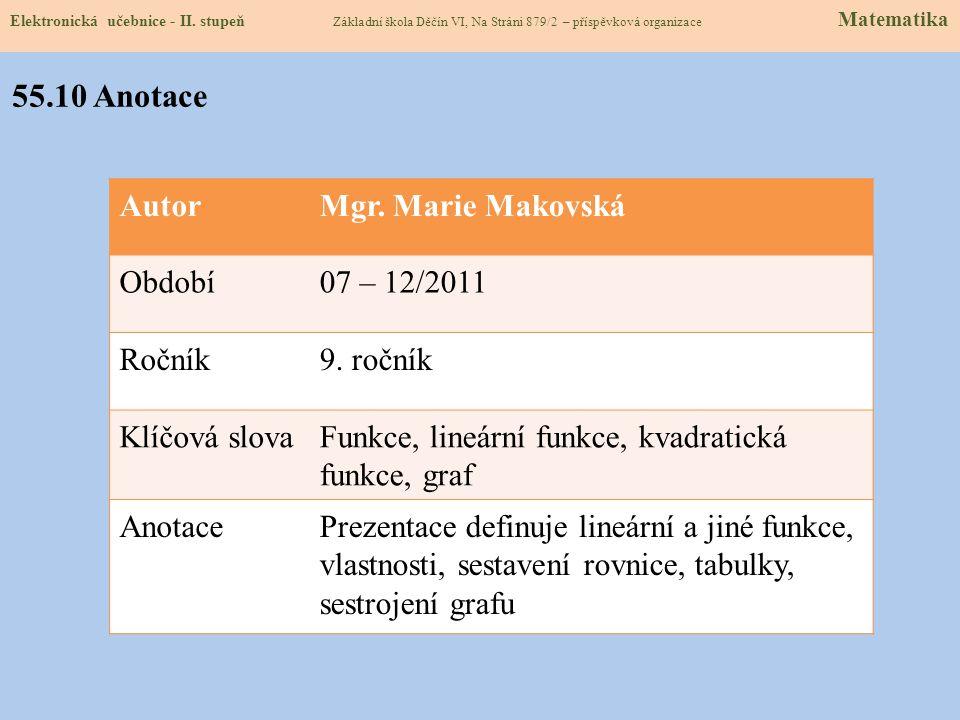 55.10 Anotace Autor Mgr. Marie Makovská Období 07 – 12/2011 Ročník