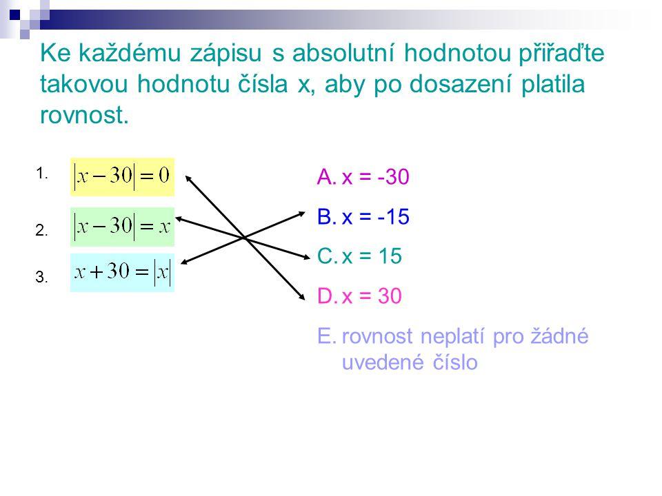 Ke každému zápisu s absolutní hodnotou přiřaďte takovou hodnotu čísla x, aby po dosazení platila rovnost.