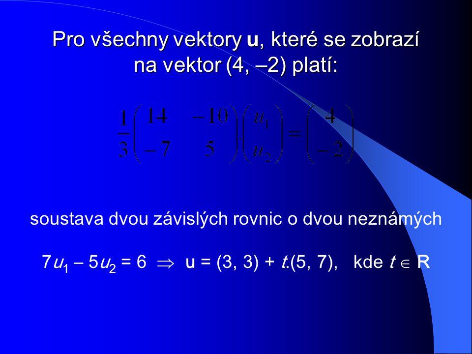 Pro všechny vektory u, které se zobrazí na vektor (4, –2) platí: